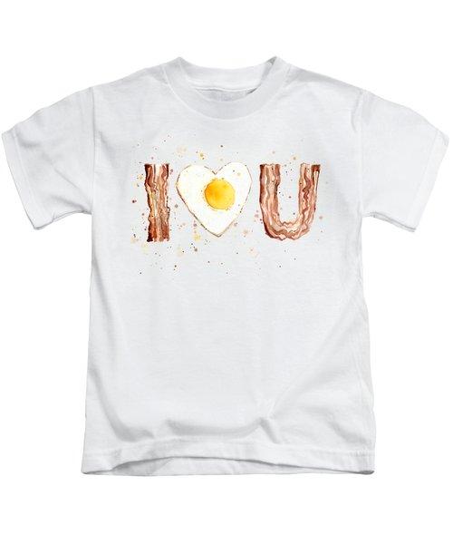 Bacon And Egg I Heart You Watercolor Kids T-Shirt by Olga Shvartsur