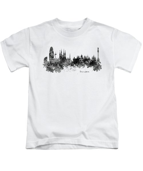 Barcelona Black And White Watercolor Skyline Kids T-Shirt by Marian Voicu