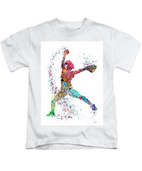 Baseball Softball Pitcher Watercolor Print Kids T-Shirt by Svetla Tancheva