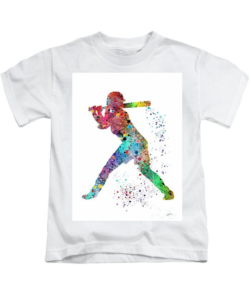 Baseball Softball Player Kids T-Shirt by Svetla Tancheva