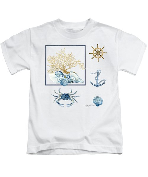 Beach House Nautical Seashells Ships Wheel Anchor N Crab Kids T-Shirt by Audrey Jeanne Roberts
