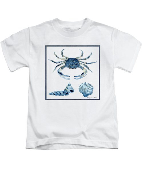 Beach House Sea Life Crab Turban Shell N Scallop Kids T-Shirt by Audrey Jeanne Roberts