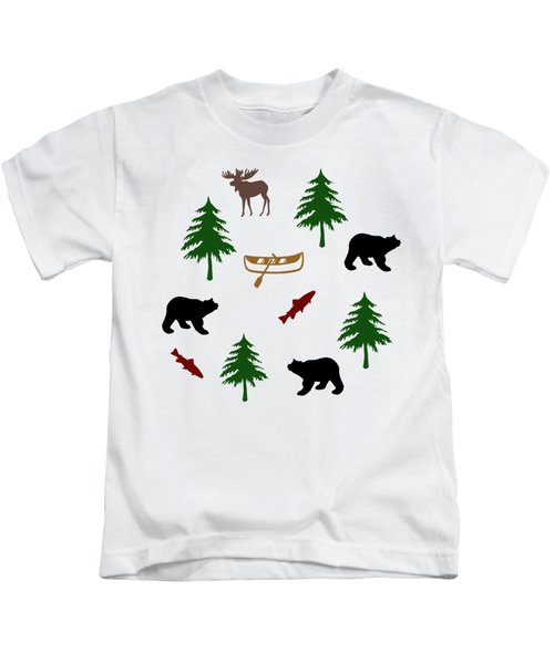 Bear Moose Pattern Kids T-Shirt by Christina Rollo