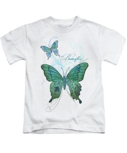 Beautiful Butterflies N Swirls Modern Style Kids T-Shirt by Audrey Jeanne Roberts