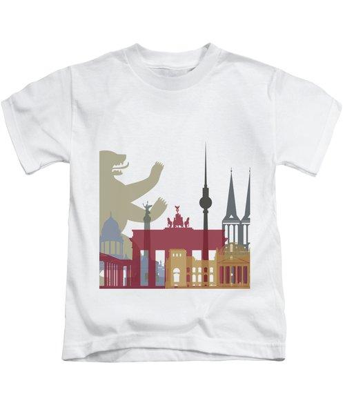 Berlin Skyline Poster Kids T-Shirt by Pablo Romero