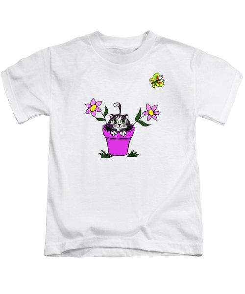 Big Eyed Kitten In Flower Pot Kids T-Shirt by Lorraine Kelly