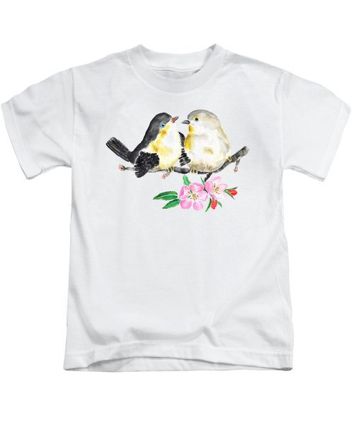 Birds And Apple Blossom Kids T-Shirt by Color Color
