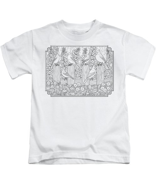 Birds In Flower Garden Coloring Page Kids T-Shirt by Crista Forest