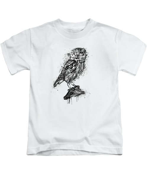 Black And White Owl Kids T-Shirt by Marian Voicu