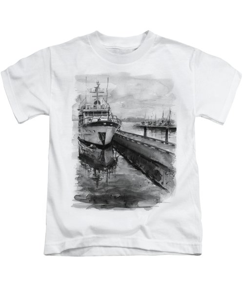 Boat On Waterfront Marina Kirkland Washington Kids T-Shirt by Olga Shvartsur