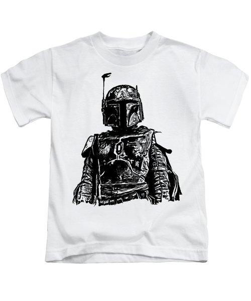Boba Fett From The Star Wars Universe Kids T-Shirt by Edward Fielding
