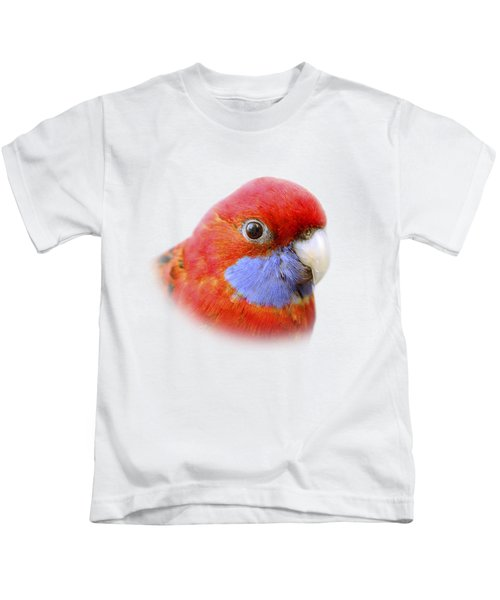 Bobby The Crimson Rosella On Transparent Background Kids T-Shirt by Terri Waters