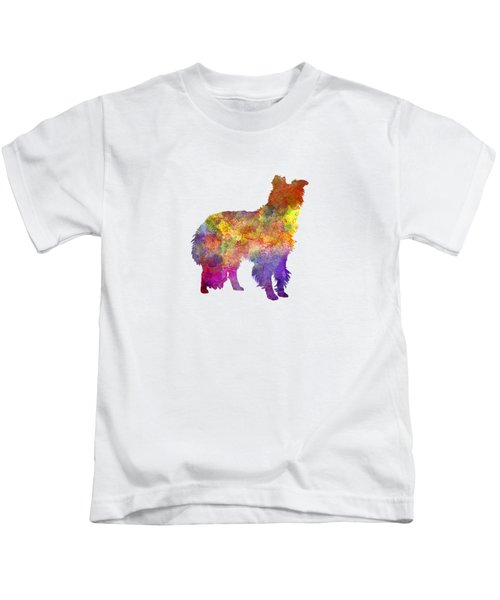 Border Collie In Watercolor Kids T-Shirt by Pablo Romero