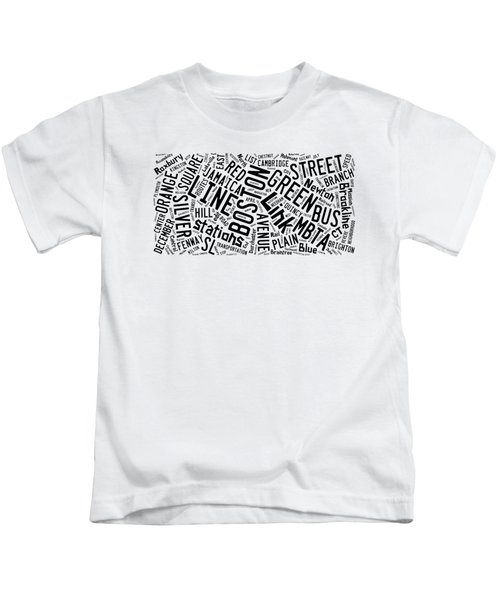 Boston Subway Or T Stops Word Cloud Kids T-Shirt by Edward Fielding