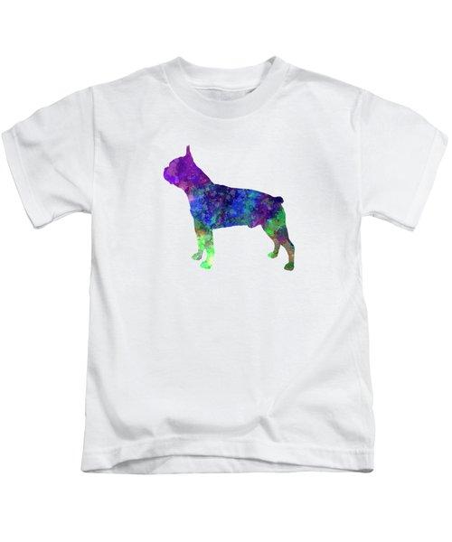 Boston Terrier 02 In Watercolor Kids T-Shirt by Pablo Romero