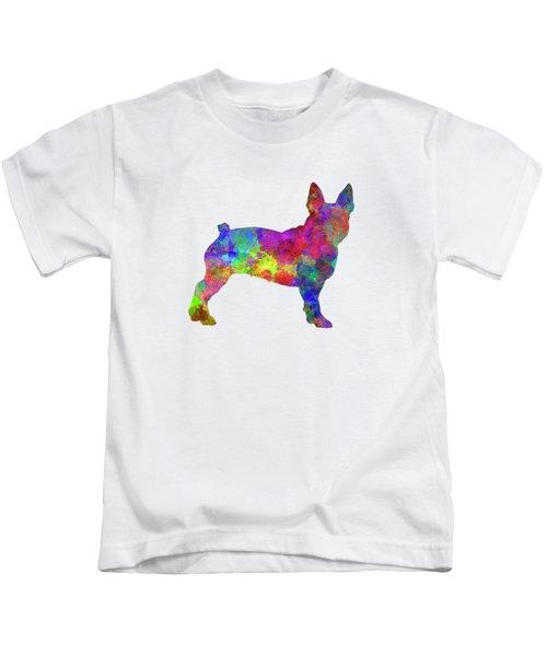 Boston Terrier 01 In Watercolor Kids T-Shirt by Pablo Romero
