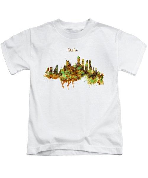 Boston Watercolor Skyline Kids T-Shirt by Marian Voicu