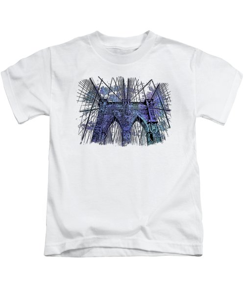 Brooklyn Bridge Berry Blues 3 Dimensional Kids T-Shirt by Di Designs