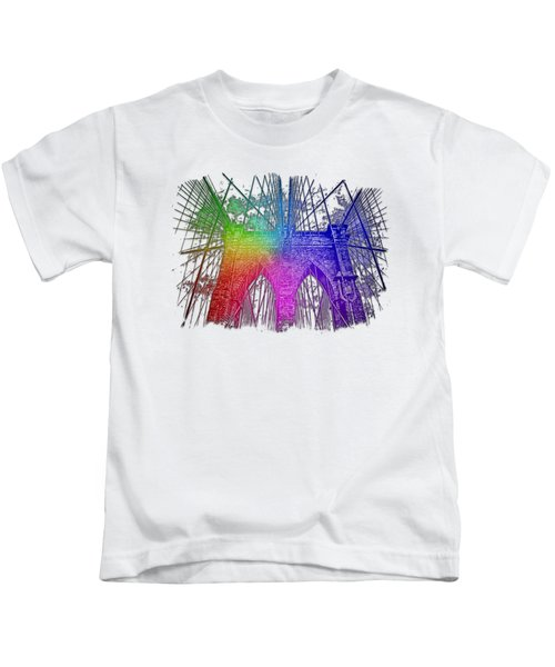 Brooklyn Bridge Cool Rainbow 3 Dimensional Kids T-Shirt by Di Designs