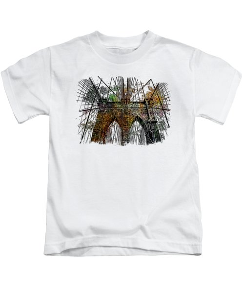 Brooklyn Bridge Muted Rainbow 3 Dimensional Kids T-Shirt by Di Designs