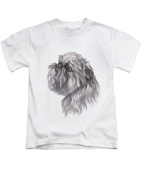 Brussels Griffon Dog Portrait  Drawing Kids T-Shirt by I Am Lalanny
