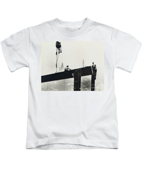 Building The Empire State Building Kids T-Shirt by LW Hine