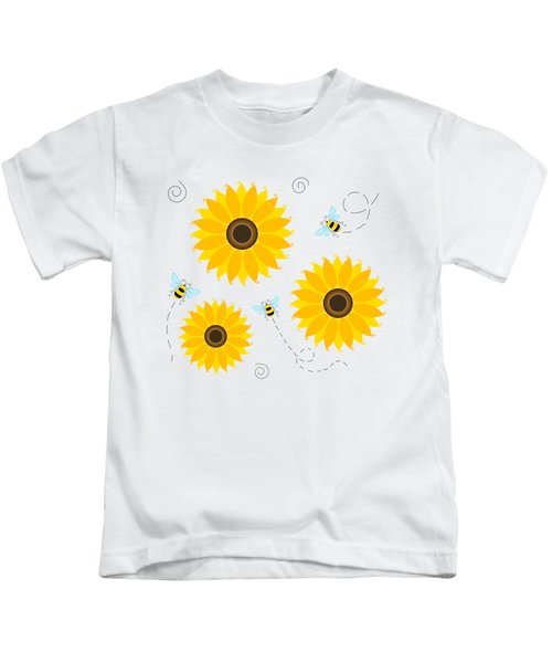 Busy Bees And Sunflowers - Large Kids T-Shirt by Shara Lee