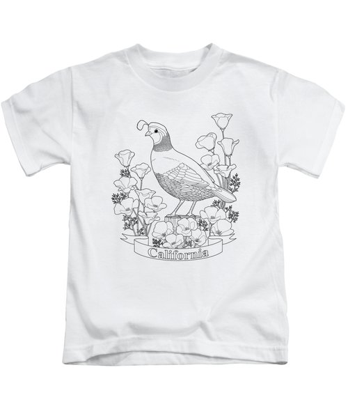 California State Bird And Flower Coloring Page Kids T-Shirt by Crista Forest