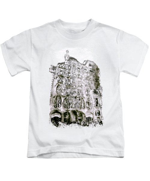 Casa Batllo Barcelona Black And White Kids T-Shirt by Marian Voicu