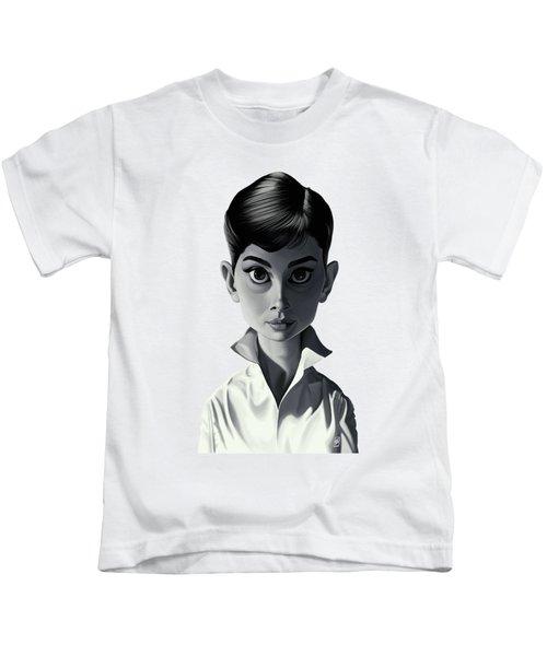 Celebrity Sunday - Audrey Hepburn Kids T-Shirt by Rob Snow