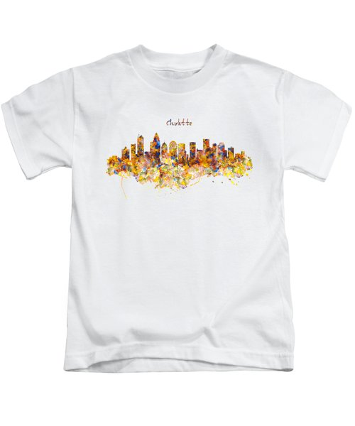 Charlotte Watercolor Skyline Kids T-Shirt by Marian Voicu