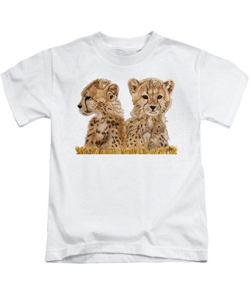 Cheetah Cubs Kids T-Shirt by Angeles M Pomata