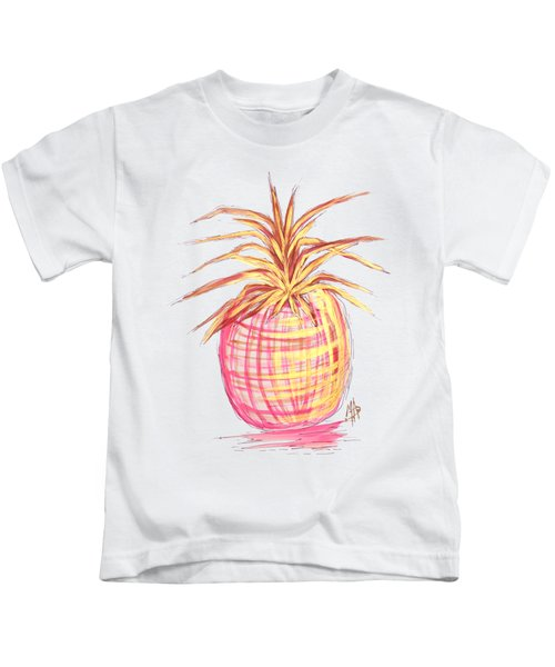 Chic Pink Metallic Gold Pineapple Fruit Wall Art Aroon Melane 2015 Collection By Madart Kids T-Shirt by Megan Duncanson