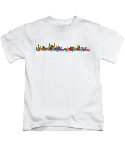 Chicago And St Louis Skyline Mashup Kids T-Shirt by Michael Tompsett