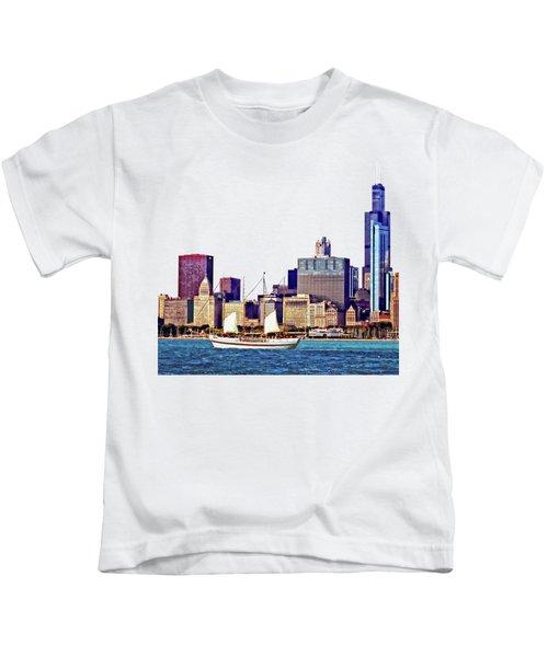 Chicago Il - Schooner Against Chicago Skyline Kids T-Shirt by Susan Savad