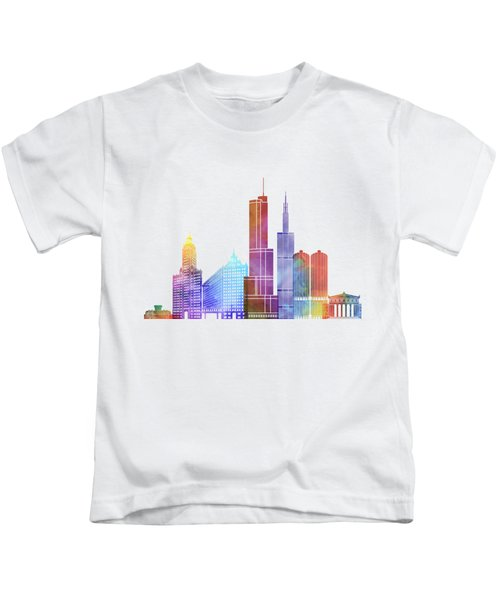 Chicago Landmarks Watercolor Poster Kids T-Shirt by Pablo Romero