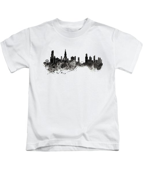 Chicago Skyline Black And White Kids T-Shirt by Marian Voicu