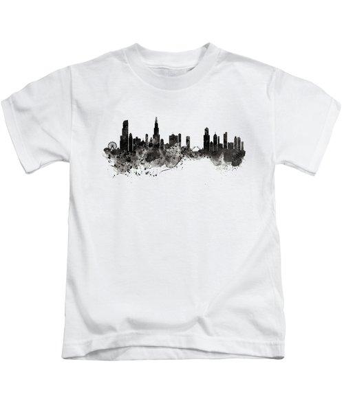 Chicago Skyline Black And White Kids T-Shirt by Marian Voicu