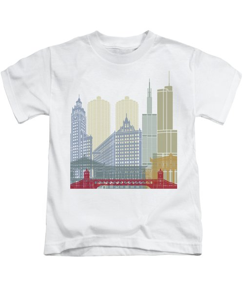 Chicago Skyline Poster Kids T-Shirt by Pablo Romero