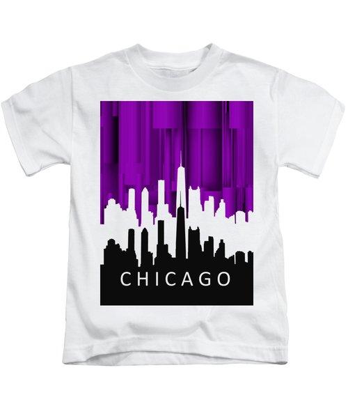 Chicago Violet In Negative Kids T-Shirt by Alberto RuiZ