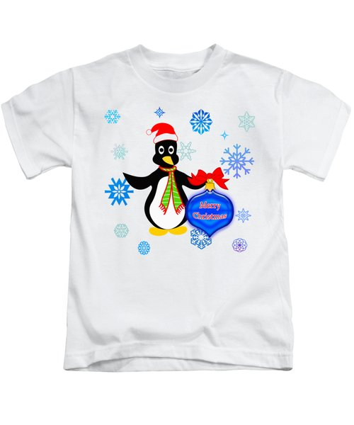 Christmas Penguin Kids T-Shirt by Methune Hively