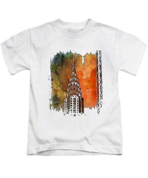 Chrysler Spire Earthy Rainbow 3 Dimensional Kids T-Shirt by Di Designs