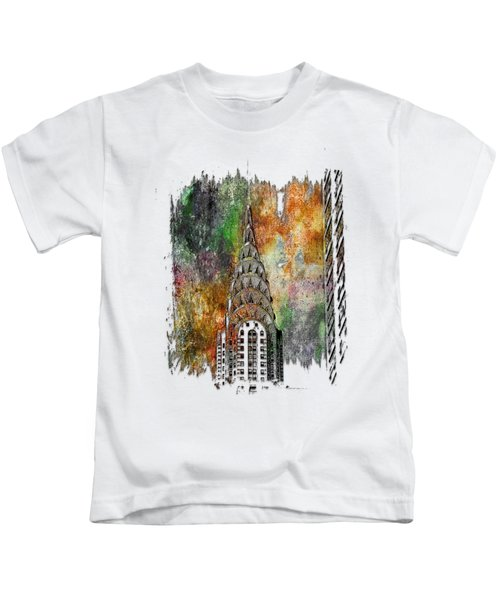 Chrysler Spire Muted Rainbow 3 Dimensional Kids T-Shirt by Di Designs