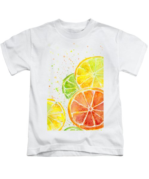 Citrus Fruit Watercolor Kids T-Shirt by Olga Shvartsur