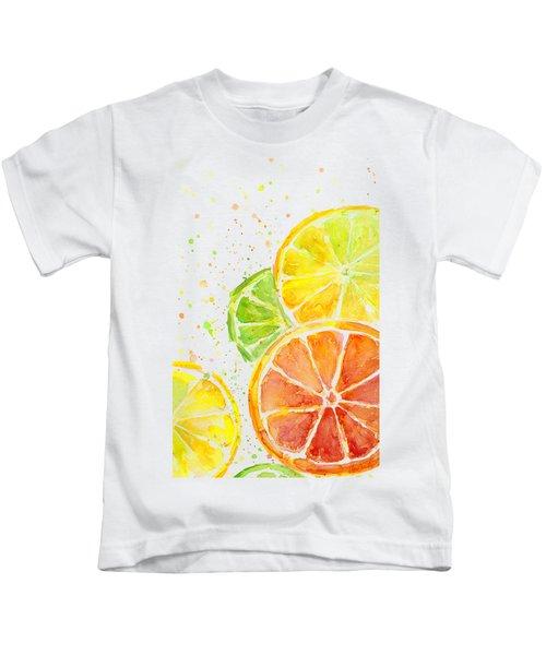 Citrus Fruit Watercolor Kids T-Shirt by Olga Shvartsur
