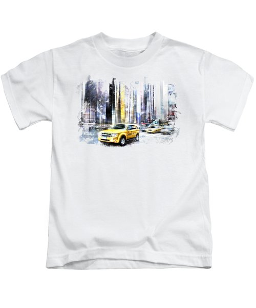 City-art Times Square II Kids T-Shirt by Melanie Viola