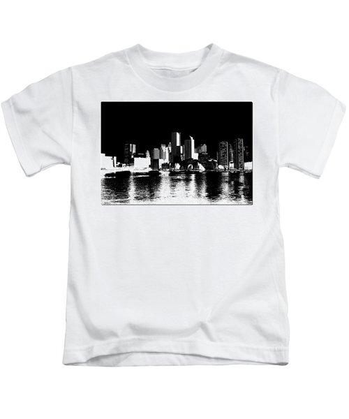City Of Boston Skyline   Kids T-Shirt by Enki Art