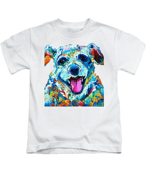 Colorful Dog Art - Smile - By Sharon Cummings Kids T-Shirt by Sharon Cummings