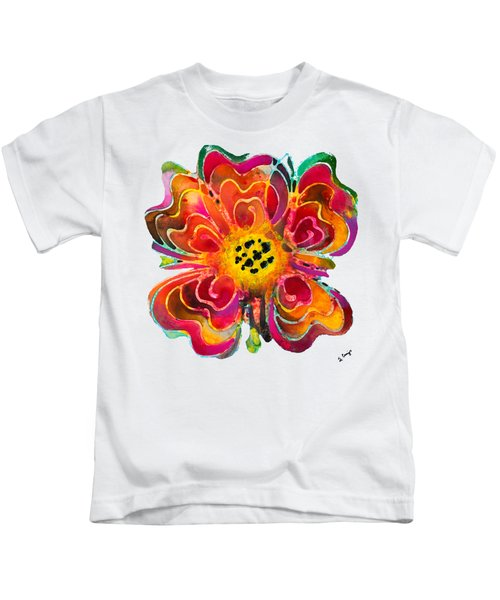 Colorful Flower Art - Summer Love By Sharon Cummings Kids T-Shirt by Sharon Cummings