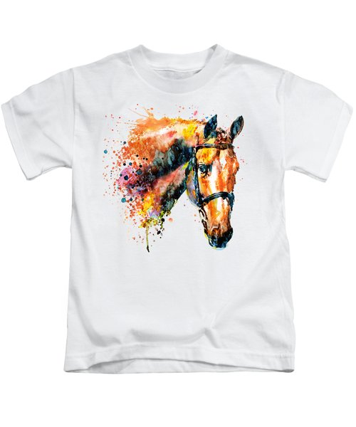 Colorful Horse Head Kids T-Shirt by Marian Voicu